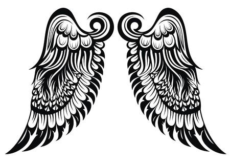 天使の入れ墨を翼します。