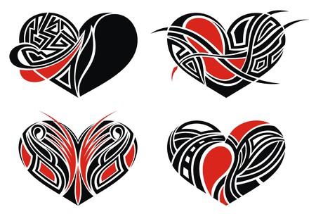 dise�os: Corazones del tatuaje ilustraci�n