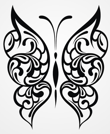 Zwarte vlinder op een witte achtergrond Stock Illustratie