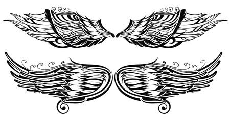Tattoo vleugels Stock Illustratie