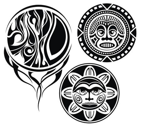 gothic design: Set of tattoo elements Masks