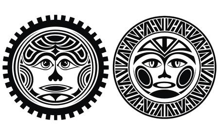 maories: Tatuaje estilo máscaras Vectores