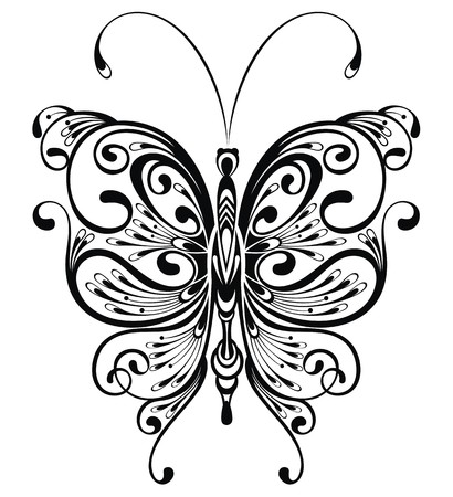 Black butterfly on a white background Vector