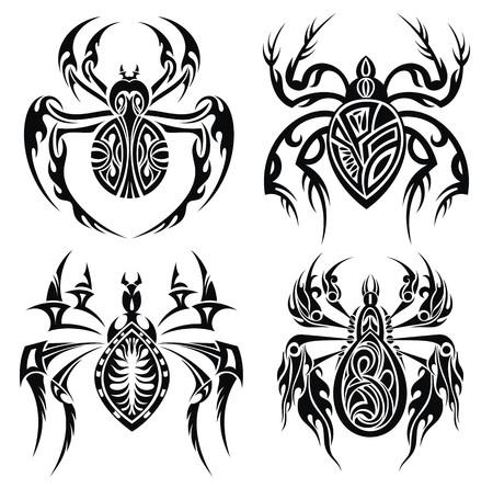 Tribal spiders Vector
