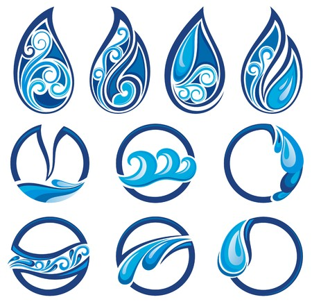 Set of wave symbols for design isolated on white background Illustration