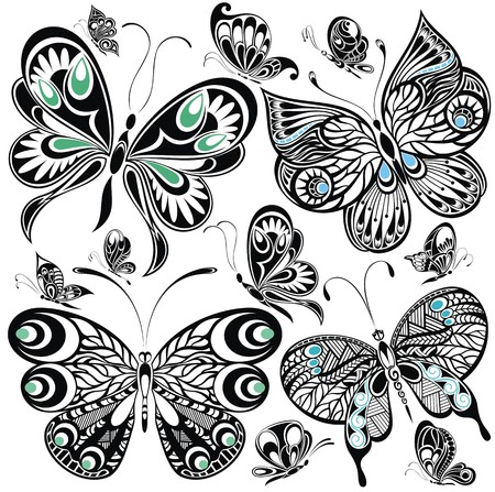 tattoo drawings: Butterfly set Illustration