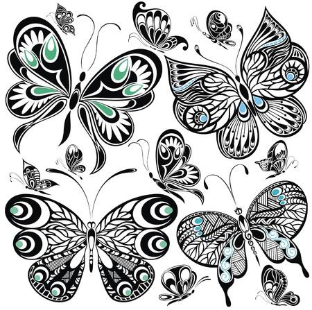 dessin noir et blanc: jeu de papillon