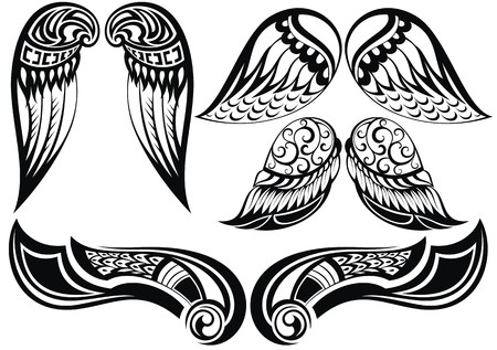 tatouage ange: Ange wings.Good ensemble de différentes ailes de tatouage Illustration