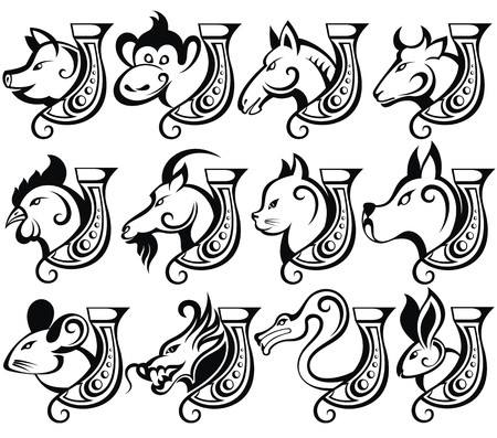 chinese zodiac sign: illustration of Chinese zodiac signs with horseshoes for lucky Illustration