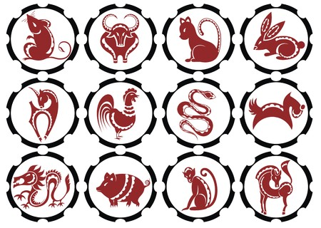 chinese zodiac sign: illustration of Chinese zodiac signs