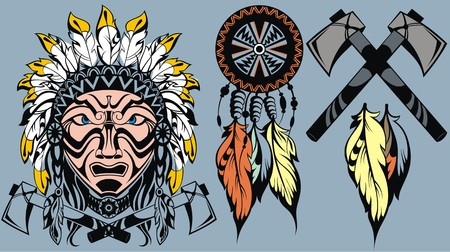 indian tattoo: Brave American Indian warrior head for mascot and tattoo design elements