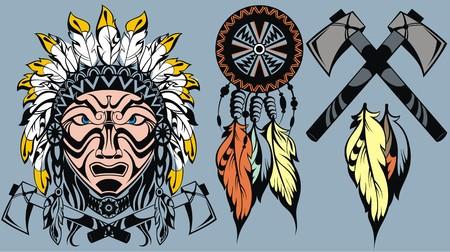 guerriero indiano: Coraggioso americano testa guerriero indiano per mascotte e tatuaggio elementi di design Vettoriali