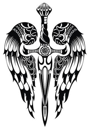 tribal wings: Wings and Sword