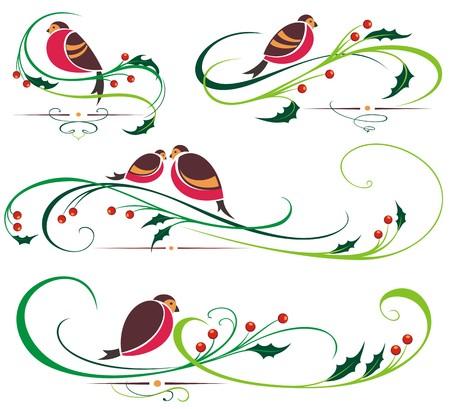bullfinch: Bullfinch and Christmas ornaments Illustration
