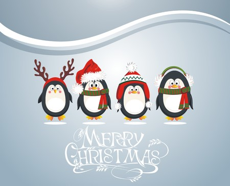 cartoon penguin: Christmas card with cute penguins