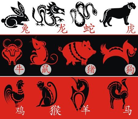 snake calligraphy: Chinese Zodiac, Twelve Animal symbols