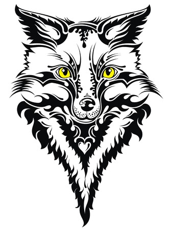 black and white wolf: Fox head tattoo Illustration
