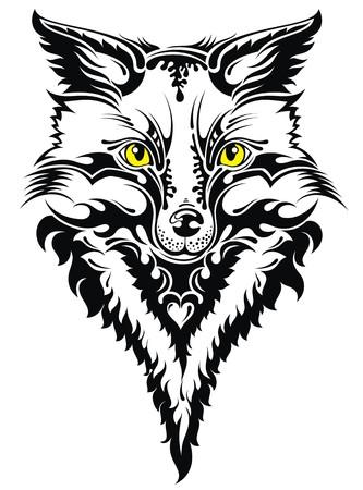 black fox: Fox head tattoo Illustration