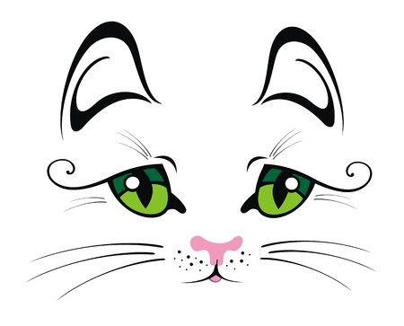black eye: Cat with Green Eyes Illustration