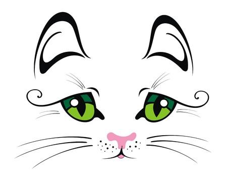 cat eyes: Cat with Green Eyes Illustration