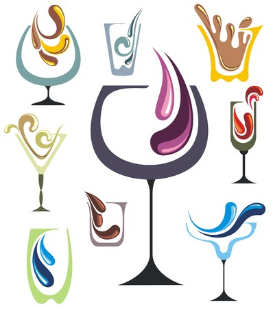 cocktail drinks: Drink icons set
