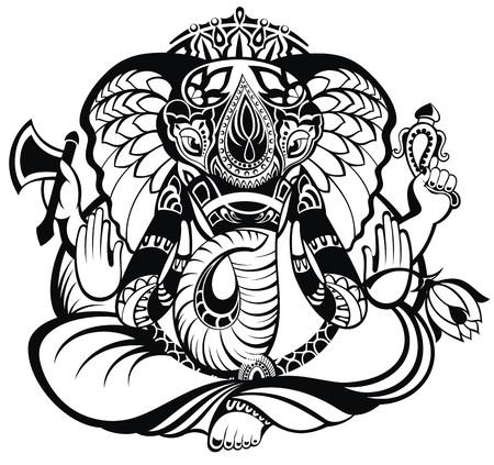 siluetas de elefantes: Ilustraci�n vectorial de un dios hind� Ganesha Vectores
