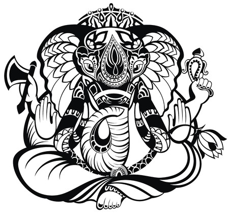 indian weapons: Vector illustration of an Indian god Ganesha