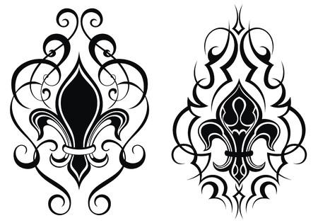 Black royal fleur de lis flowers.Tattoo Иллюстрация