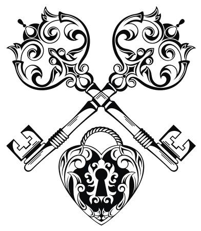 잠금의 ands 키의 문신 디자인 일러스트
