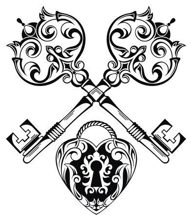 lock and key: Tattoo Design of Lock ands Key