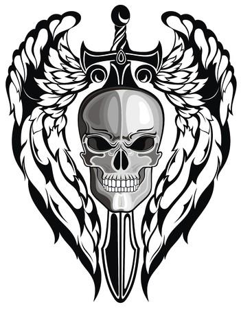 剣と翼の頭蓋骨