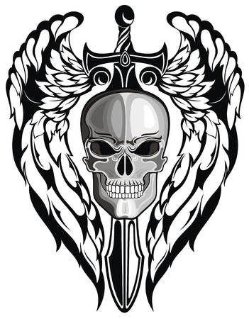 Winged Skull with sword