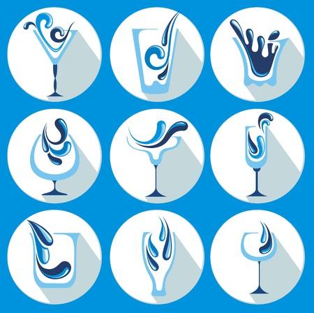 soda splash: Vector Illustration of water glasses Illustration