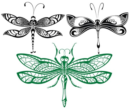 dragonfly art: Abstract design dragonfly.Vector collection Illustration