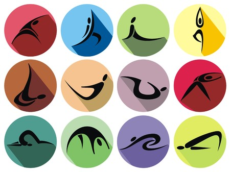 gymnastics sports: Fitness Icons set