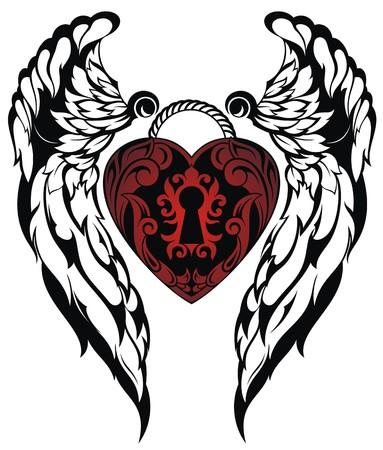 dessin coeur: Ange wings.Love tatouage