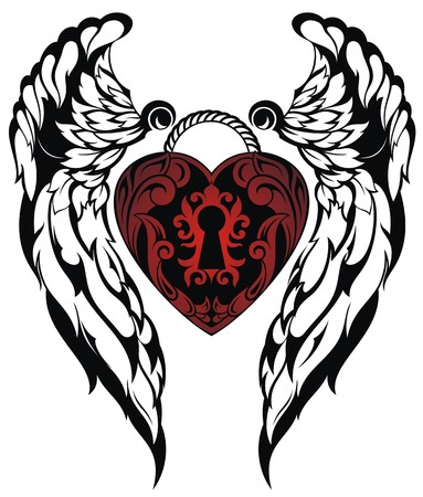 gothic angel: Angel wings.Love tattoo