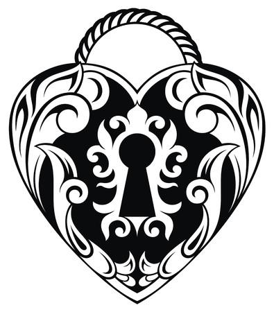 secret love: Lock icon.Love