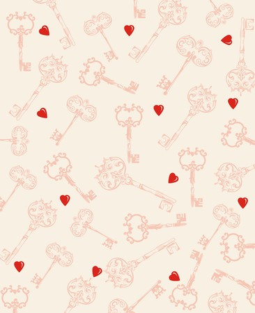 Seamless hearts and key pattern.Happy Valentine Vector
