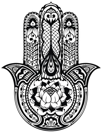 Vector Indian hand drawn hamsa symbol Vettoriali