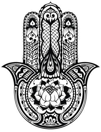 tribales: Vector indio símbolo dibujado a mano hamsa