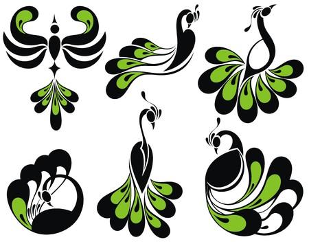 green cute: Birds icons.Peacock birds
