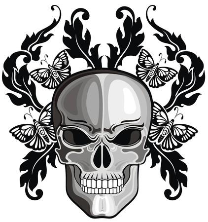 aggressive people: Skulls with floral patterns