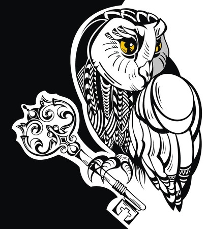 owl tattoo: Tattoo owl with key
