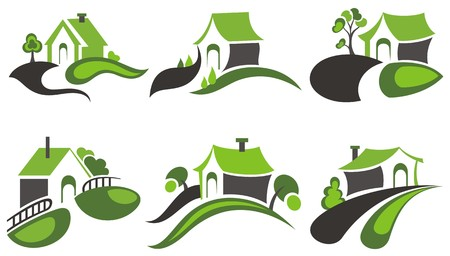 ecology emblem: Real Estate House design Illustration
