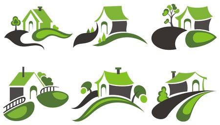 Real Estate Huizen ontwerp Stock Illustratie