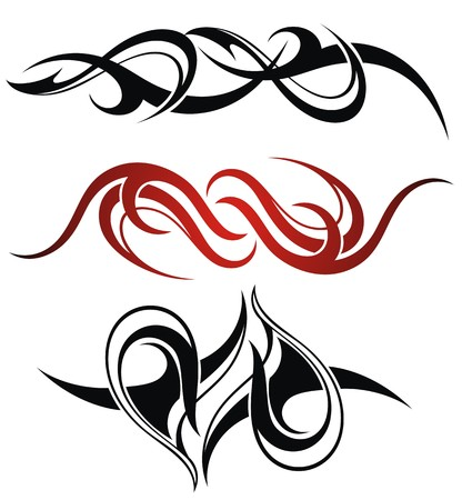 Set of 3 different vector tribal tattoo Ilustração