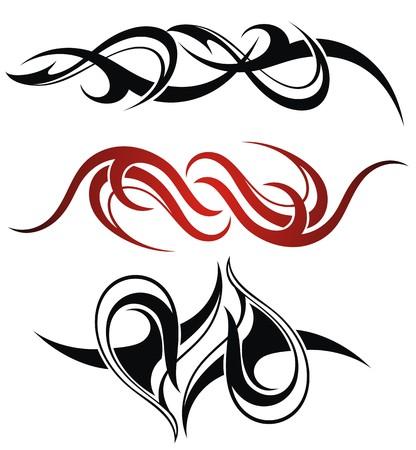 Set of 3 different vector tribal tattoo Illustration