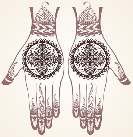 rt: Vector illustration of hands with henna tattoos