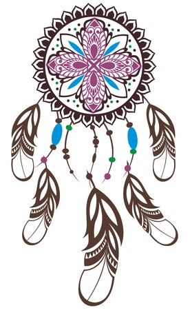 indian art: Indian Dream catcher in a sketch style Illustration